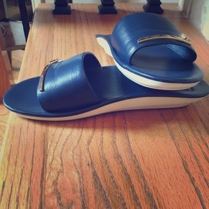 Tory Burch Leather Top Slides size 7 Navy Blue